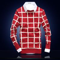 4M631 2014 BEST Hotsale men's pullovers men sweaters Men's Fashion Turtleneck grid casual Sweaters Wholesale and Retail