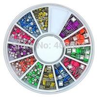 600PCS Mix Colour Square and Round Shape Neon Metal Studs Set Nail Art Decoration 33#