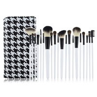 Professional 20pcs Face Makeup Brush Set with Black Leather Bag Make Up Brushes Free Shipping pincel maquillaje trucco maquiagem