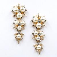 New arrive 2014  women fashion design crysta pearl statement stud Earrings