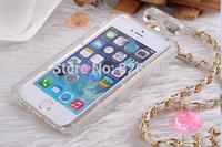 Handbag Soft TPU Perfume Bottle Case cover  skin  Metal Leather Chain For iphone 6  4.7'' screen