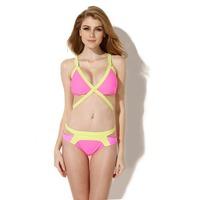 2014 New Sexy bikini Greenish Yellow + Rose Triangle Top with Classic Cut Bottom Bikini Swimwear in Low Price Free Shipping