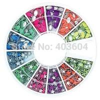 Mix Colour Horse Eye and Star Shape Neon Metal Studs Set Nail Art Decoration 31#