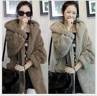 2014 Fashion Winter Warm Women Girl Coats Womens Thicken Hoodie Wool Loose Long Fur Female Coat Jackets Cardigans Parka Jacket