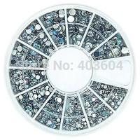 Mix 4 Size Bling Crystal AB Acrylic Rhinestones Wheel Nail Art Decoration 30#