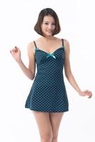 Free shipping Woman home casual dot printed knit braces night skirt suspender wholesale retail V-neck sexy pajamas nightdress