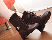 2014 Brand New Hot Sales Fashion Women's Autumn Winter Warm Platform Heel Short Martin Boots Lady PU Leather Snow Boots Shoes