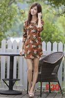free shipping 2014 women plus size warm dresses American apparel Charater print winter dress M L XL XXL 3XL 4XL 5XL 6xl vestidos