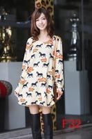 free shipping vestidos 2014 autumn women plus size thin warm dress horse printed winter dresses M L XL XXL 3XL 4XL 5XL 6xl