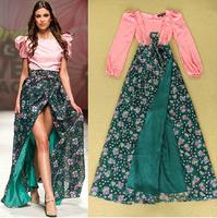 New Hot Women Dress 2014 Autumn Sweetheart Pink Green Floral Print Long Sleeve Maxi Dress Sexy Women High Slit Prom Dress Party