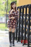 free shipping vestidos autumn dress 2014 winter women fashion thin plus size cartoon printing dresses M L XL XXL 3XL 4XL 5XL 6xl