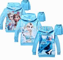 2014 new girls spring autumn Frozen outerwear kids long sleeve princess Elsa coat children's lovely hoodies tops(China (Mainland))