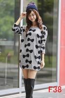 Free Ship 2014 autumn winter women fashion bow printing dress thin plus size M L XL XXL 3XL 4XL 5XL 6xl vestidos woman clothes
