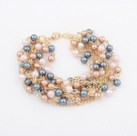 Min.Order $8.8(Mix Order) 2014 New Arrival Europe And America Popular Exaggerated Statement Multilayer Pearl Bracelets FB0107