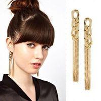 Min.Order $8.8(Mix Order) Free Shippig HOT Classic Fashion Trendy Charm Ladies Long Chain Tassel Gold Earring FE0159