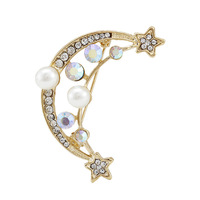 2014 new Fashion full Rhinestone Pearl Antique Gold Moon Boat Star Brooches For Women's pins