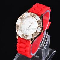 2014 New design brand Geneva Fashion Watches silicone strap Quartz  watch Wristwatches Women dress Watch quartz watch