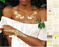 6pcs popular temporary tattoo sticker  metal waterproof golden tattoos stickers 24 designs