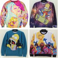 Free shipping women's hoodies o neck long sleeve cartoon sesame street printing 3d sweatshirts women fashion sweatshirt 19models