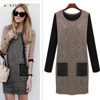 Autumn Winter New 2014 Women Dress Black Grey Patchwork Pocket Casual Dress Long Sleeve O-neck Slim Dresses