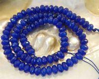 "4x6mm Faceted Blue Sapphire Rondelle Semi-precious stonestone Loose Beads 15"""