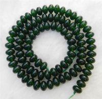"Dark Green 4x6mm Emerald Semi-precious stonestone Roundel Loose Beads 15"" Strand YL"