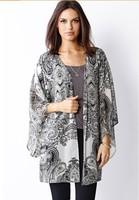 free shipping european  jackets black white printed chiffon kimono-style retro horn sleeve cardigan sweater female long section