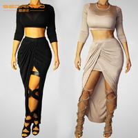 2014 new autumn fashion  Two Pieces Bandage Dress Summer Slim Celeb Bodycon long sleeve Dress Night party sexty dress