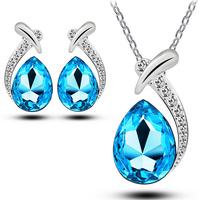 2014 New Arrival Fashion  Crystal Zircon Necklace/Drop Earrings Jewelry Set ,TZ-1333