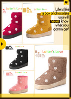 2014 Preppy Style High-Bottom Soft Warm Girl's Snow Boots Cute Snowflake Pattern Boots Flat Cotton-Padded Women's Snow Boots