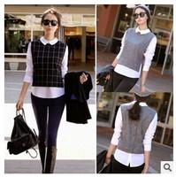 Blouse women new 2014 antumn winter women long sleeve shirts blusas black/gray plaid False two pieces blousas tops chemise femme