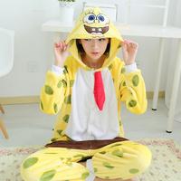 Winter Home Clothing Suit Wmen Coral Fleece Pajama Pijama Set Spongebob Pullover Femininos Inverno Sleepwear With Hat For Sleep
