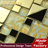 2014 Rushed Top Fashion Building Materials [kinghao] Supply Mosaic Wholesale Glass Mosiac And Stainless Steel Mix Diamond Kwp838