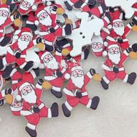 Christmas sewing wood button Santa Claus 50pcs/lot Scrapbook Accessories
