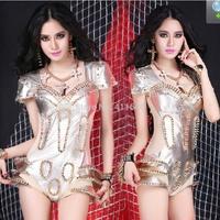 SEXY Womens Costume Rivet Power Shoulder Leopard Bodysuit Jazz Club Dance Wear Cos Cosplay Jazz XS M L Free Shipping