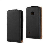 Free Shipping Black Color For Nokia Lumia 530 Genuine Leather Case