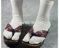 Cool Unisex Japanese Kimono Geta Clog Flip Flop Cotton Tabi Socks Split Toe