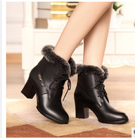 2014 new winter boots leather women's boots in Europe  England cowhide Rex real hair thick with low cylinder boots CY0044