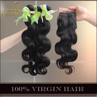 "Malaysian Virgin Hair With Closure 3Pcs Malaysian Body Wave Human Hair Extensions Add Free Part Lace Closures 4""*4"" Landot Hair"