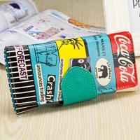 2014 New Women's Wallets Cola color graffiti wallet Female Purses Phone Bag Case Cards Holder Wholesales
