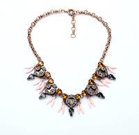 J Designer Inspired Crew Style Ornate Crystal Statement Necklace