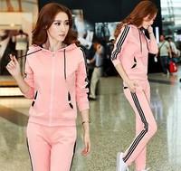 Korea fashion style women spring and autumn tracksuit brand,blusas femininas sport suit women clothing set jogging suits brand