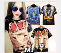 The new 2014, 3 d clothes, lion, a clown mask, skeleton red lion, a couple short sleeve T-shirt, suitable for men and women