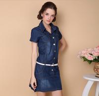 Summer 2014 Short sleeved denim dresses bull-puncher Dress big woman jeans dress women's clothing plus size