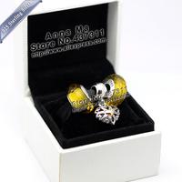 New S925 Sterling Silver 14K gold pendant love Fascinating Charm Jewelry Set  Fit European Charm DIY Bracelet & Necklace Pendant
