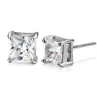 Wholesale (12 pairs/lot) AAA zirconia Earrings for Women 6mm Square Crystal Earrings Men Jewelry Women Jewelry Unsex