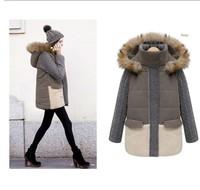 European winter new wind detachable cap knitting cotton women coat sleeve splicing cotton-padded winter jacket H146