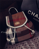 Free shipping New winter plaid striped canvas shoulder bag stitching bag Shoulders backpack