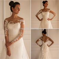 2014 Vintage Bridal Gowns A-Line Beteau Neck Long Sleeve Open Back Wedding Dresses