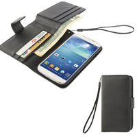 For S4 MIni Litchi Texture Side Flip Leather Wallet Case for Samsung Galaxy Galaxy S IV mini i9190 With Lanyard Free Post